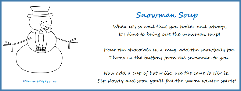 Snowman Kisses Poem Printable