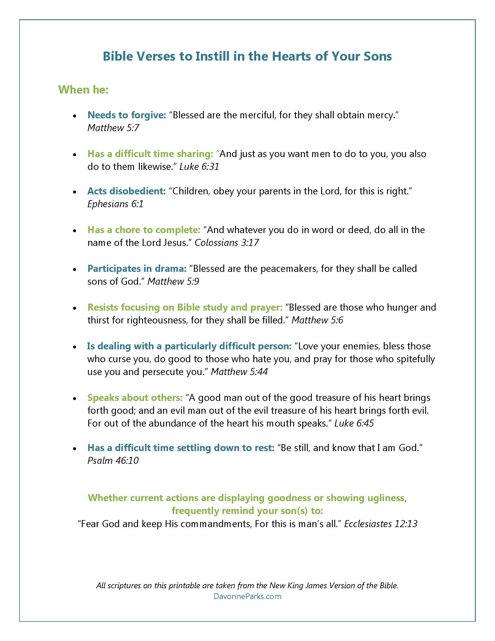 FREE Printable – Bible verses to instill in the hearts of our children