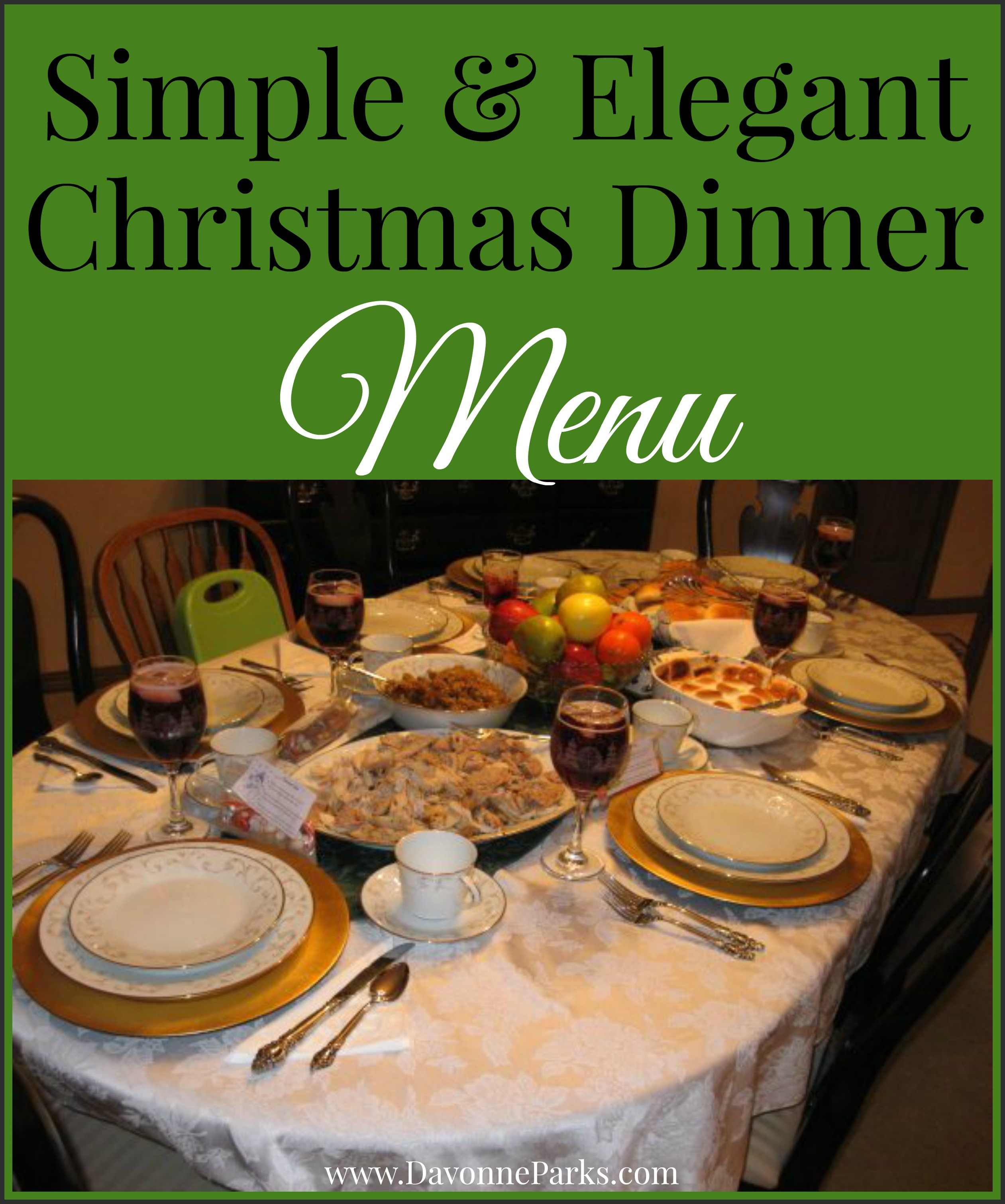 Simple & Elegant Christmas Menu